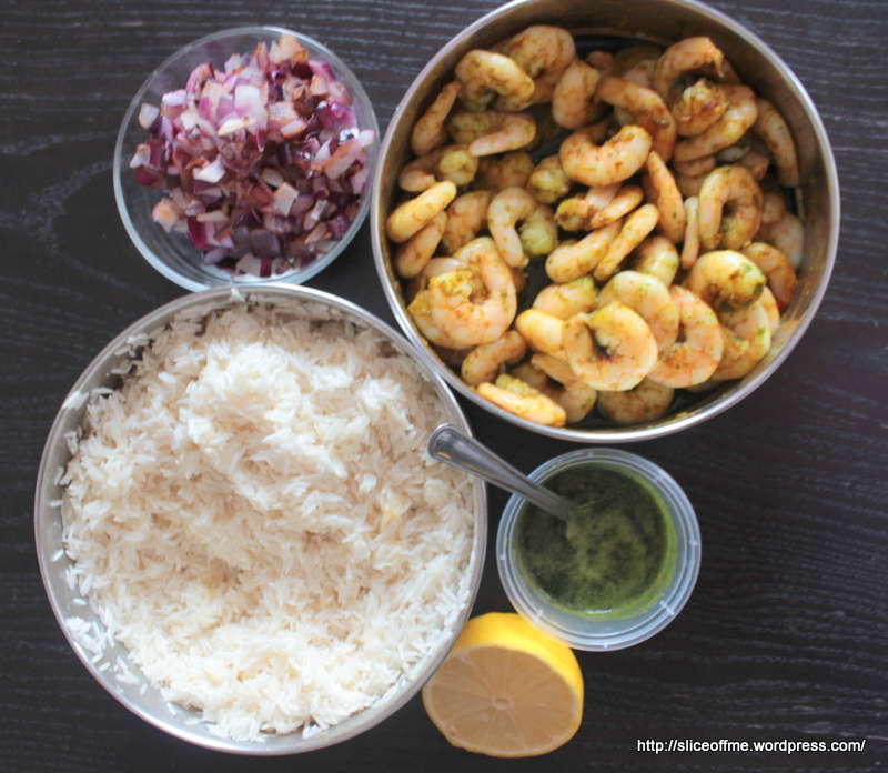 Ingredients for Prawn Khichadi with old lends