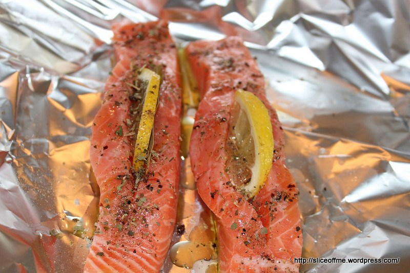 The salmon is ready for the oven