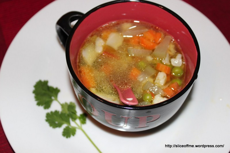 Clear Veg Soup with an Indian Tadka
