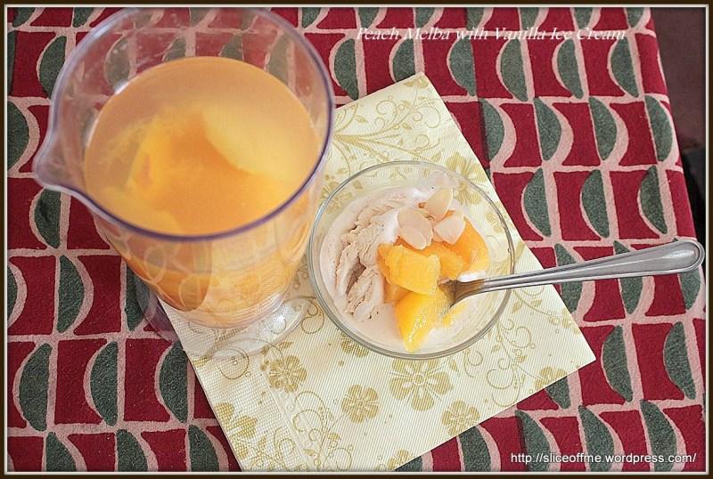 Peach Melba with Vanilla Ice Cream