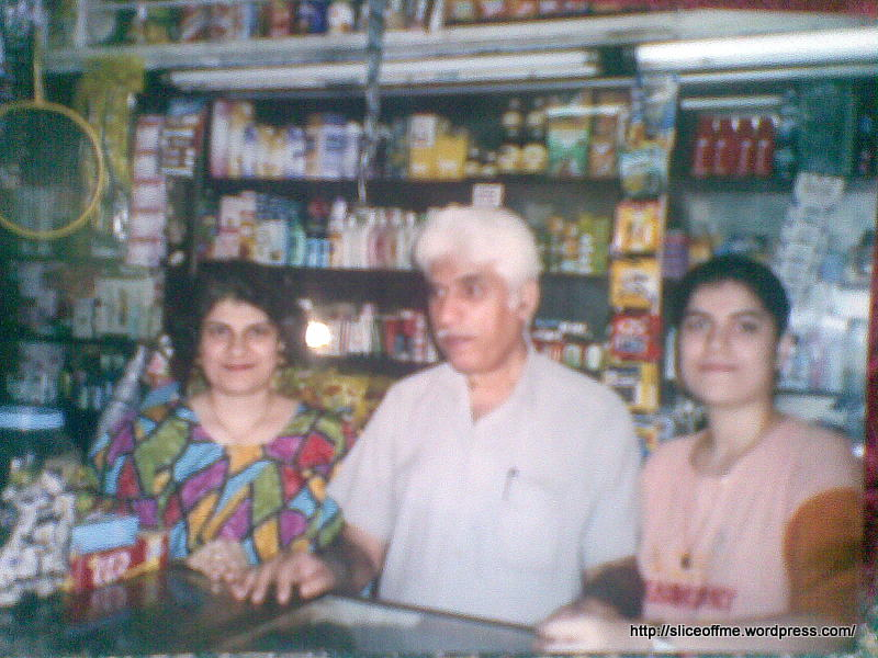 Agha and daughters at the shop