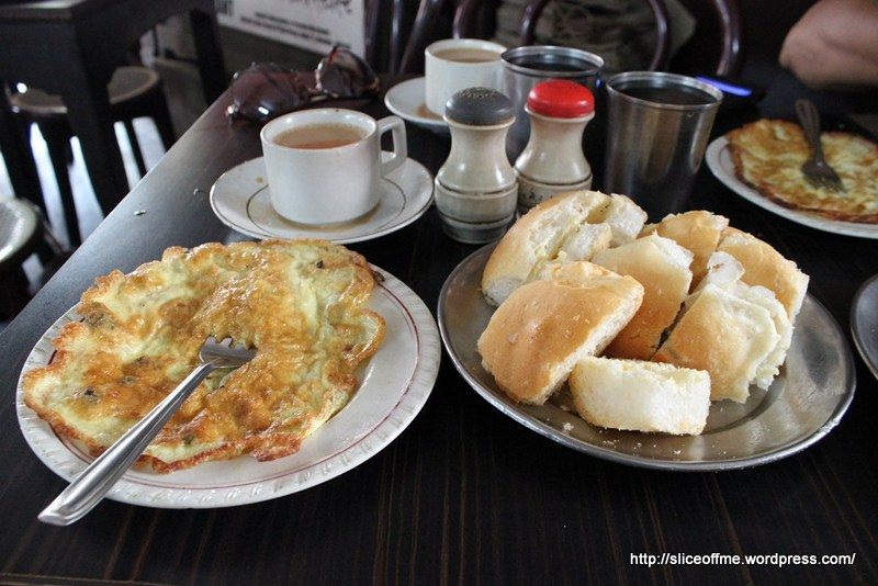A full spread - typical Irani anda pav breakfast with chai n maska pav