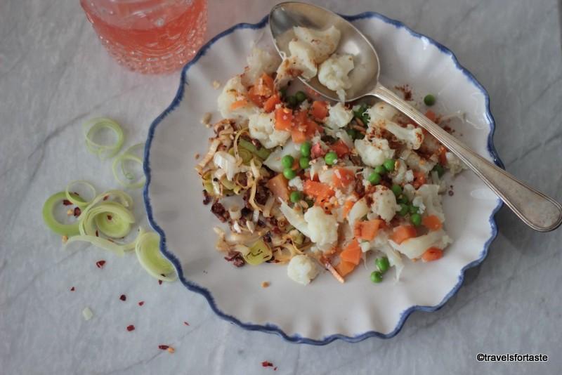 Burnt Garlic, Leek and Cauli Mediterranean Salad