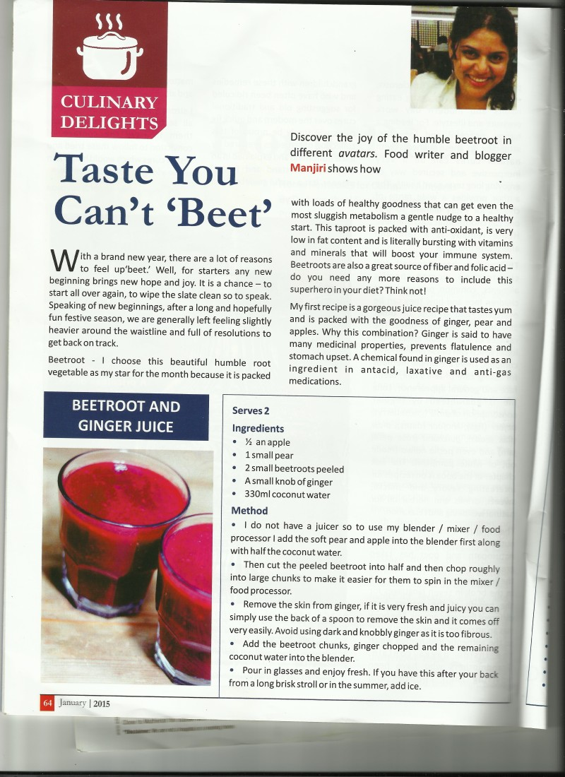 Dignity Foundation - Beetroot and Ginger Juice recipe