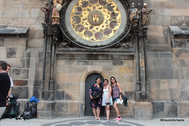 Prague - posing with my girl gang outside the astronomical clock