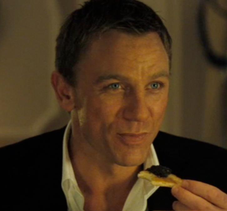 James Bond 007 eating caviar