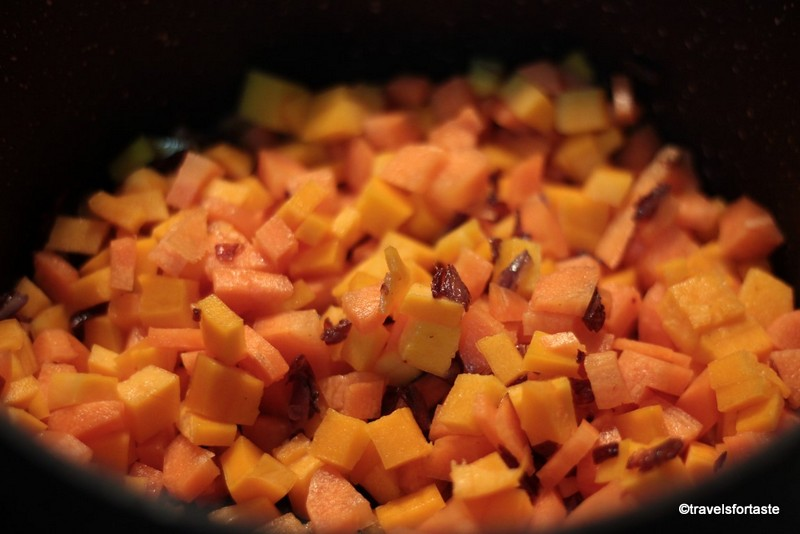 Bite sized Carrots and Butternut Squash sauteed in butter and onion