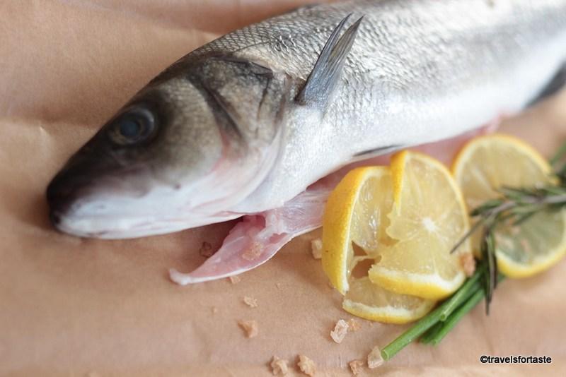 Beautiful whole Sea Bass seasoned