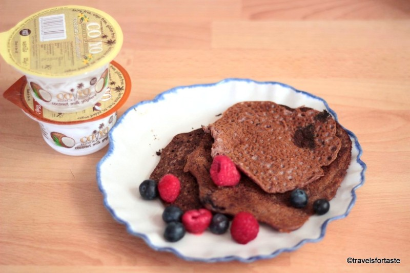 Mixed berries finger millet amaranth pancakes with CoYo