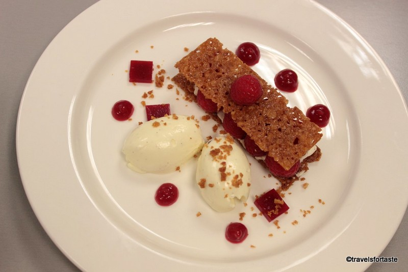 Raspberry and Mascarpone mille feuille