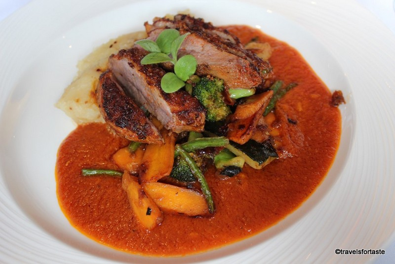 Grilled duck breast with goan curry